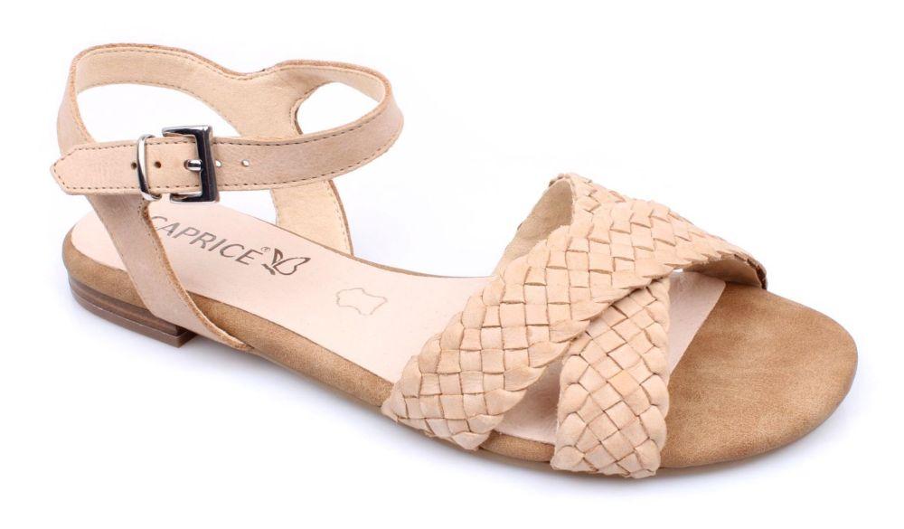 Caprice 9 28100 20 352 CAMEL WAXY NAP sandały damskie beżowe