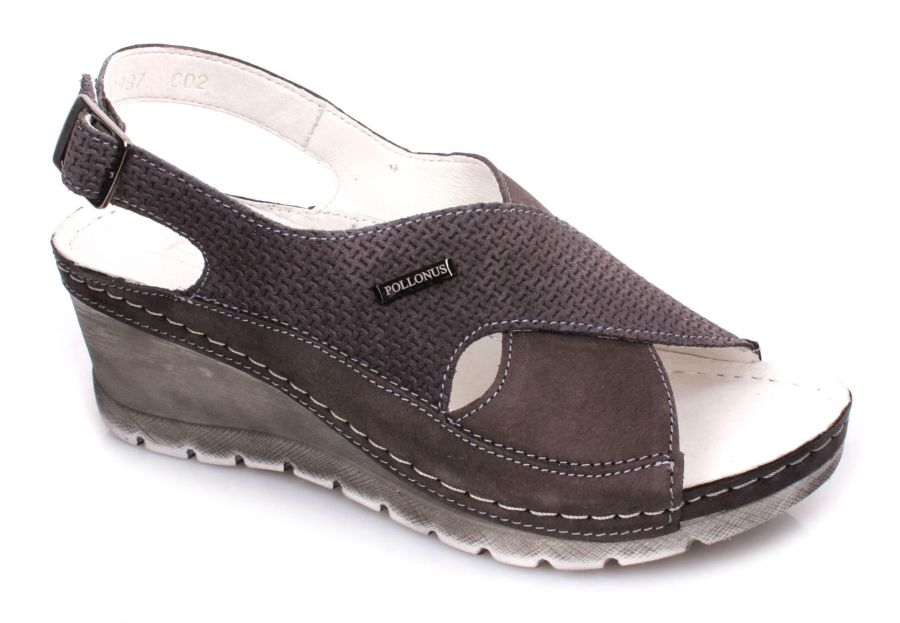 39933e6051678 Pollonus 5-0987-002 sandały damskie szare