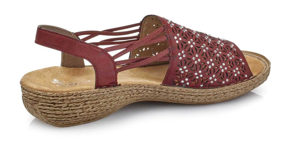 2e4ab330c7ce1 Rieker 658B2-35 RED samdały damskie bordowe sandał damski bordowy bordo