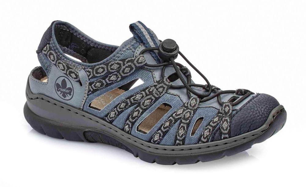 fad88ad74bd58b Niebieskie sandały damskie Rieker L32P8-14 BLUECOMBINATION